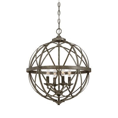 Tokai 4-Light Metal Foyer Pendant Finish: Antique Silver