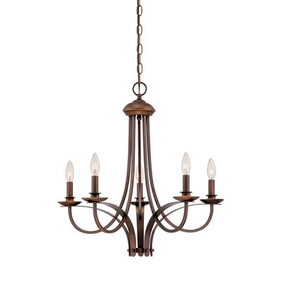 5-Light Candle-Style Chandelier Finish: Rubbed Bronze