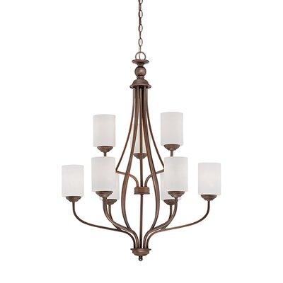 Lansing 9-Light Shaded Chandelier Finish: Rubbed Bronze