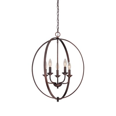 5-Light Foyer Pendant Finish: Rubbed Bronze