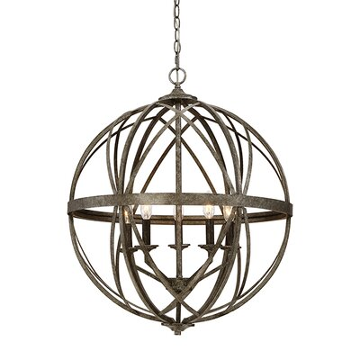 Tokai 5-Light Foyer Pendant Finish: Antique Silver