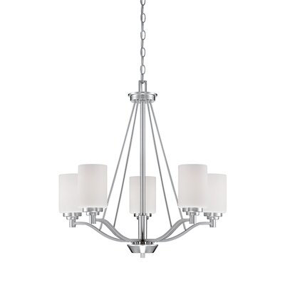 Hester 5-Light Shaded Chandelier Finish: Satin Nickel