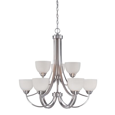 Camden 9-Light Shaded Chandelier Finish: Brushed Nickel
