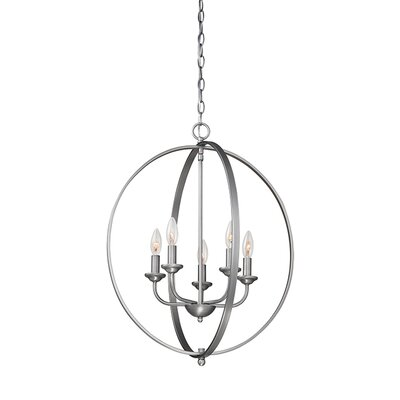 5-Light Foyer Pendant Finish: Brushed Pewter