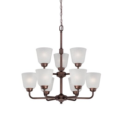 Franklin 9-Light Shaded Chandelier Finish: Rubbed Bronze
