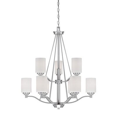 Hester 9-Light Shaded Chandelier Finish: Satin Nickel