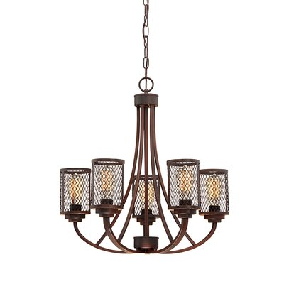 Akron 5-Light Candle-Style Chandelier Finish: Rubbed Bronze
