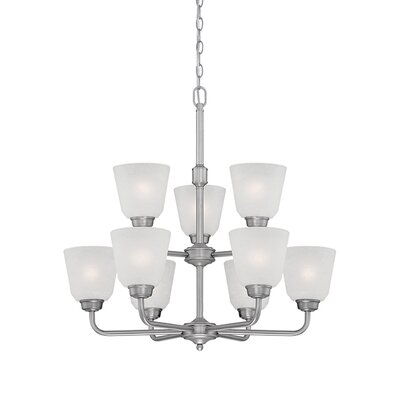 Franklin 9-Light Shaded Chandelier Finish: Brushed Pewter