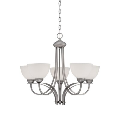 5-Light Shaded Chandelier Finish: Brushed Pewter