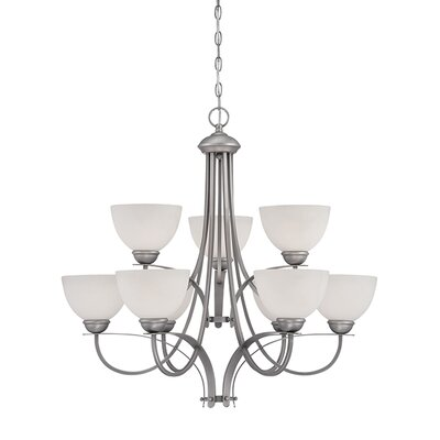 9-Light Shaded Chandelier Finish: Brushed Pewter