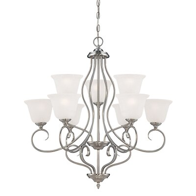 Cleveland 9-Light Shaded Chandelier Finish: Satin Nickel