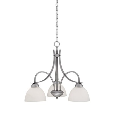 3-Light Shaded Chandelier Finish: Brushed Pewter
