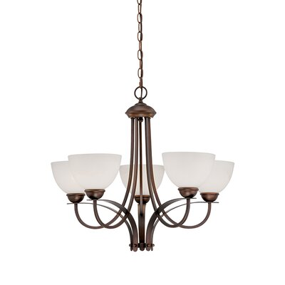 5-Light Shaded Chandelier Finish: Rubbed Bronze