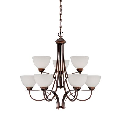 9-Light Shaded Chandelier Finish: Rubbed Bronze
