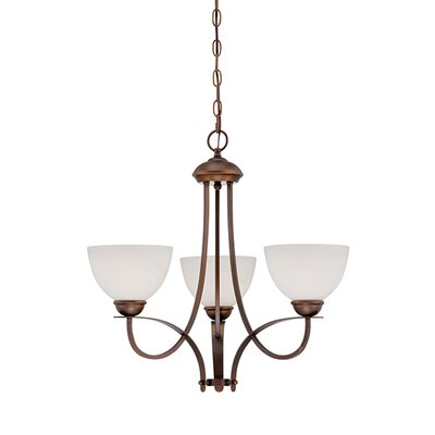 3-Light Shaded Chandelier Finish: Rubbed Bronze