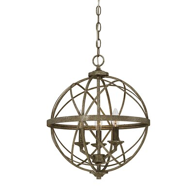 Tokai 3-Light Metal Foyer Pendant Finish: Antique Silver