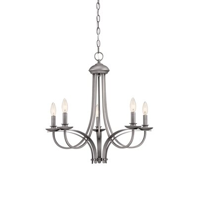 5-Light Candle-Style Chandelier Finish: Brushed Pewter