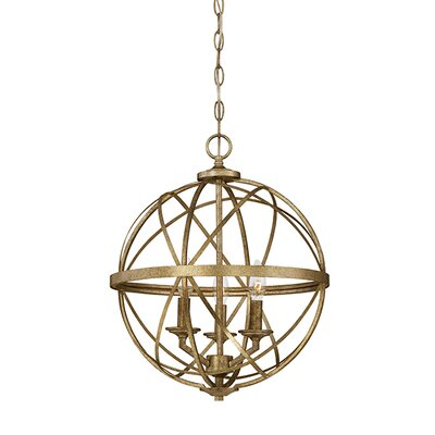 Tokai 3-Light Metal Foyer Pendant Finish: Vintage Gold