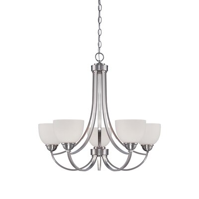 Camden 5-Light Shaded Chandelier Finish: Brushed Nickel