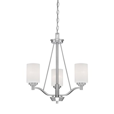 Hester 3-Light Shaded Chandelier Finish: Satin Nickel