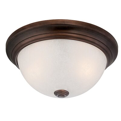2-Light Flush Mount Finish: Satin Nickel, Size: 5.5 H x 13 W x 13 D