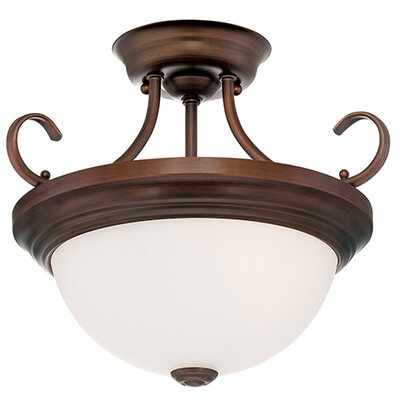 2-Light Semi-Flush Mount Finish: Rubbed Bronze, Size: 12 H x 15 W x 15 D