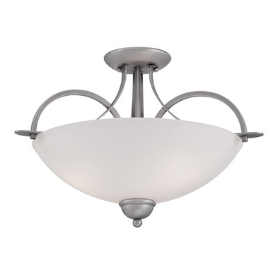 3-Light Semi-Flush Mount Finish: Brushed Pewter