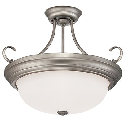 3-Light Semi-Flush Mount Finish: Rubbed Silver