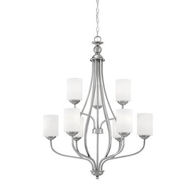 Lansing 9-Light Shaded Chandelier Finish: Brushed Pewter