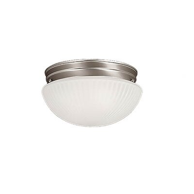1-Light Flush Mount Finish: Satin Nickel, Shade Color: Etched White
