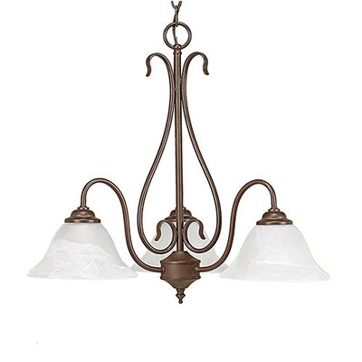 3-Light Shaded Chandelier Finish: Bronze