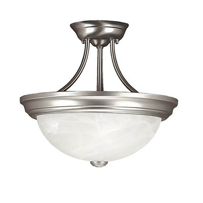 2-Light Semi-Flush Mount Finish: Satin Nickel