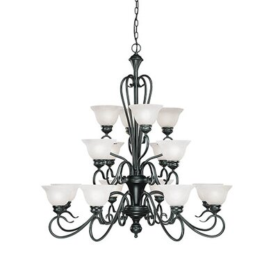 Birchview 16-Light Shaded Chandelier Finish: Black