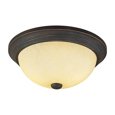 2-Light Flush Mount Finish: Rubbed Bronze, Shade Color: Turinian Scavo glass, Size: 5.5 H x 13 W