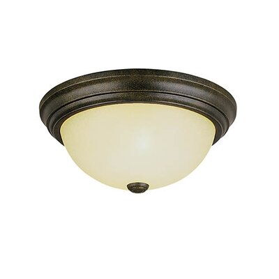 2-Light Flush Mount Size: 5.5 H x 11 W, Finish: Burnished Gold