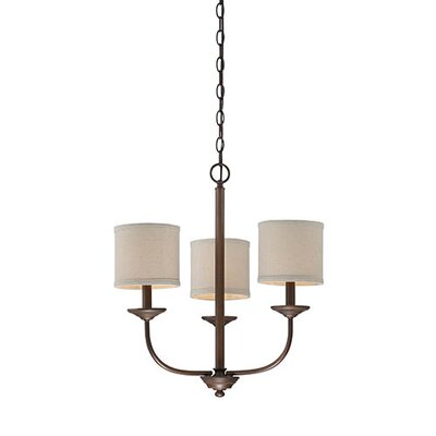 Steuben Rubbed Bronze 3-Light Drum Chandelier