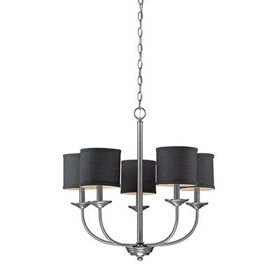 Steuben Brushed Pewter 5-Light Drum Chandelier