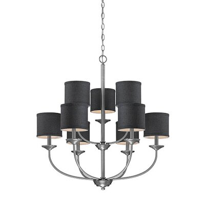 Steuben Brushed Pewter 9-Light Drum Chandelier