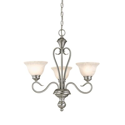 Devonshire 3-Light Shaded Chandelier Finish: Satin Nickel