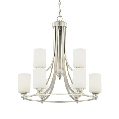 Castano 9-Light Etched White Shaded Chandelier