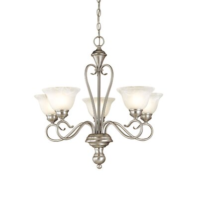 Birchview 5-Light Shaded Chandelier Color: Satin Nickel