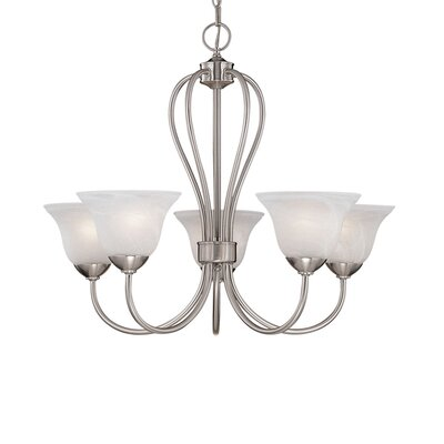 Greenport 5-Light Shaded Chandelier Finish: Satin Nickel