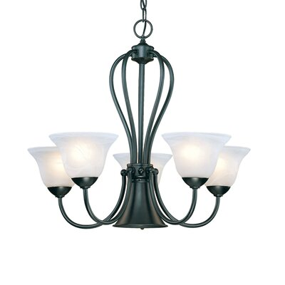 Greenport 5-Light White Shaded Chandelier Finish: Black
