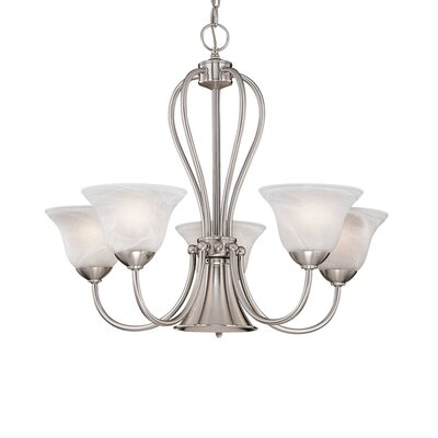 Greenport 5-Light White Shaded Chandelier Finish: Satin Nickel