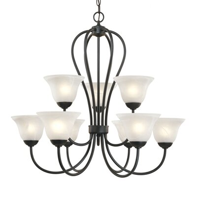 Greenport 9-Light Shaded Chandelier Finish: Black