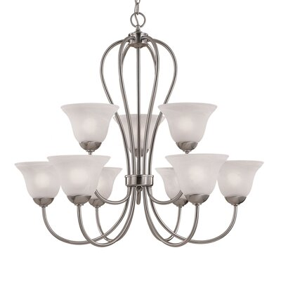 Greenport 9-Light Shaded Chandelier Finish: Satin Nickel