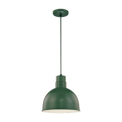 Theta 1-Light Kitchen Pendant Finish: Satin Green