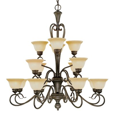 Birchview 16-Light Burnished Gold Shaded Chandelier