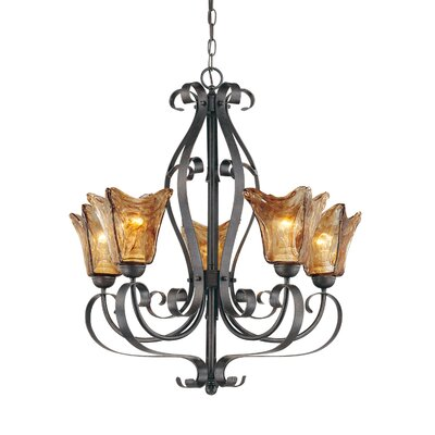 Whaley 5-Light Glass Shaded Chandelier