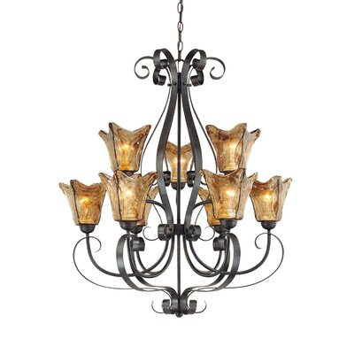 Whaley 9-Light Glass Shaded Chandelier